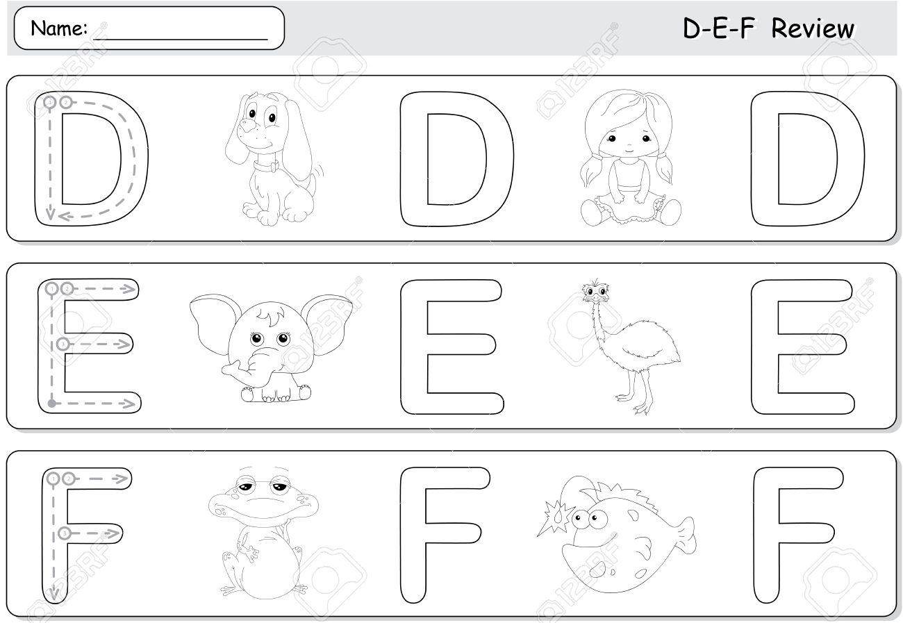 Cartoon dog, doll, elephant, emu, frog and fish. Alphabet tracing..