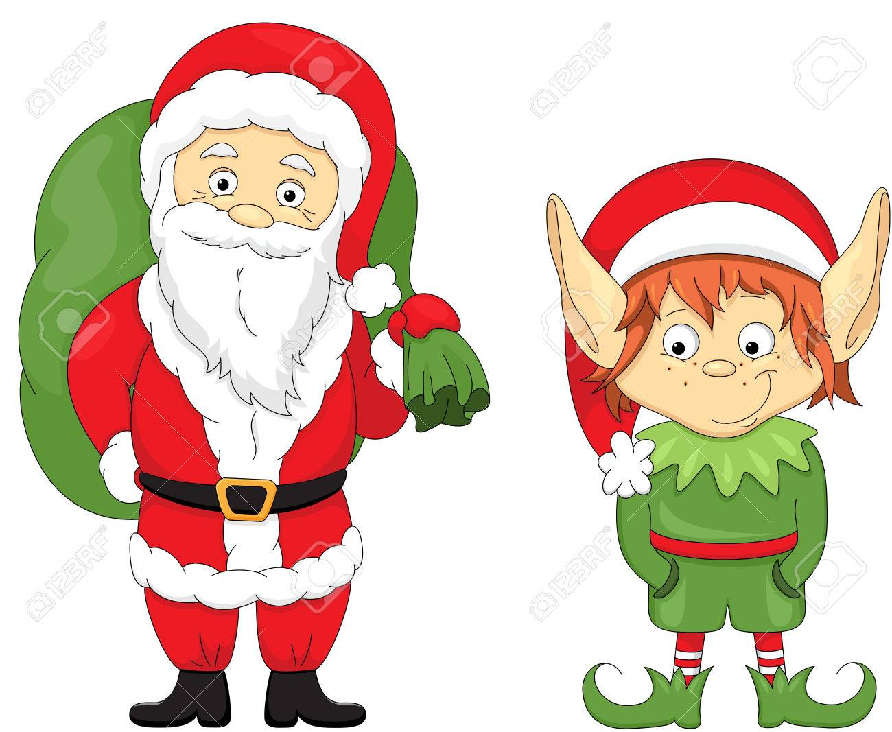 christmas elf and santa coloring book for kids stock vector 66753332
