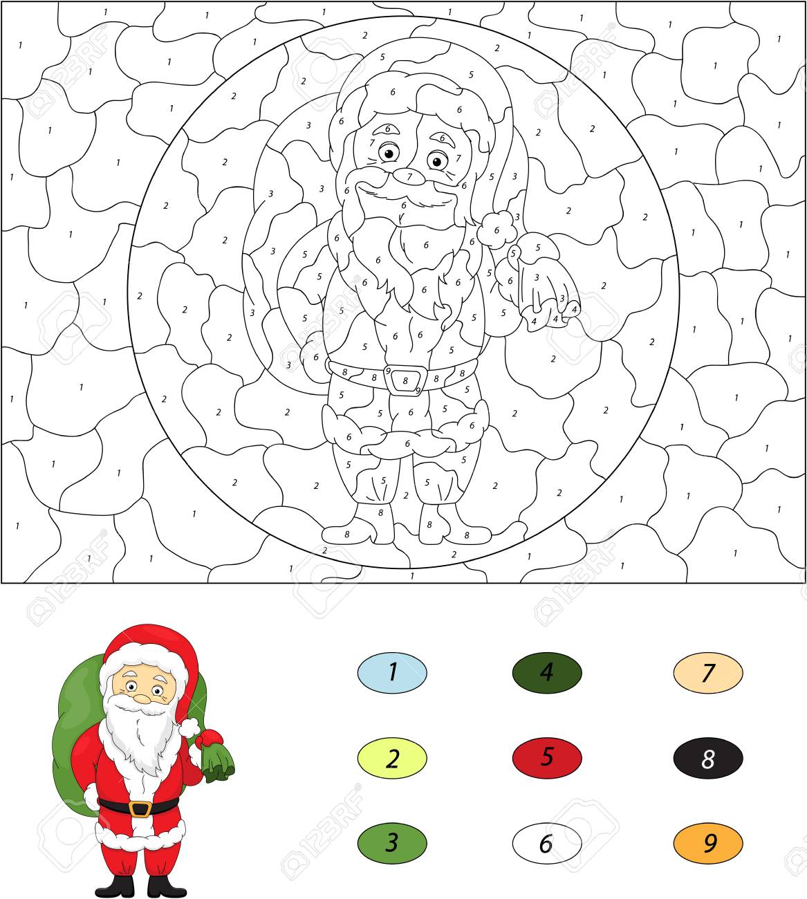 Christmas Santa (St Nicolas). Color by number educational game..
