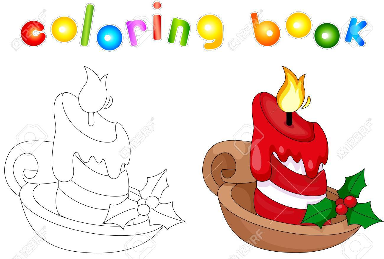Christmas Candle Coloring Book For Kids Stock Vector