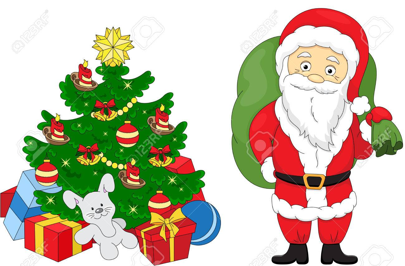 Christmas Tree And Santa. Coloring Book For Kids Royalty Free ...
