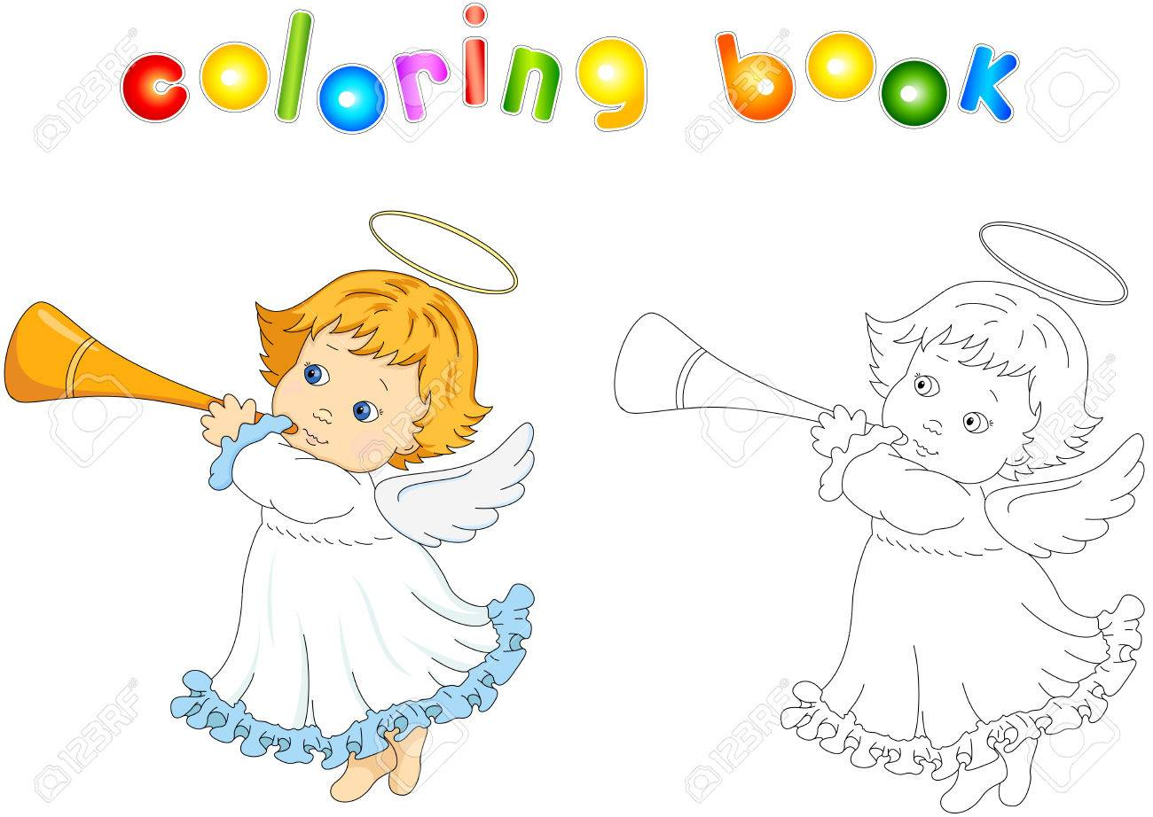Christmas Angel. Coloring Book For Kids Royalty Free Cliparts ...