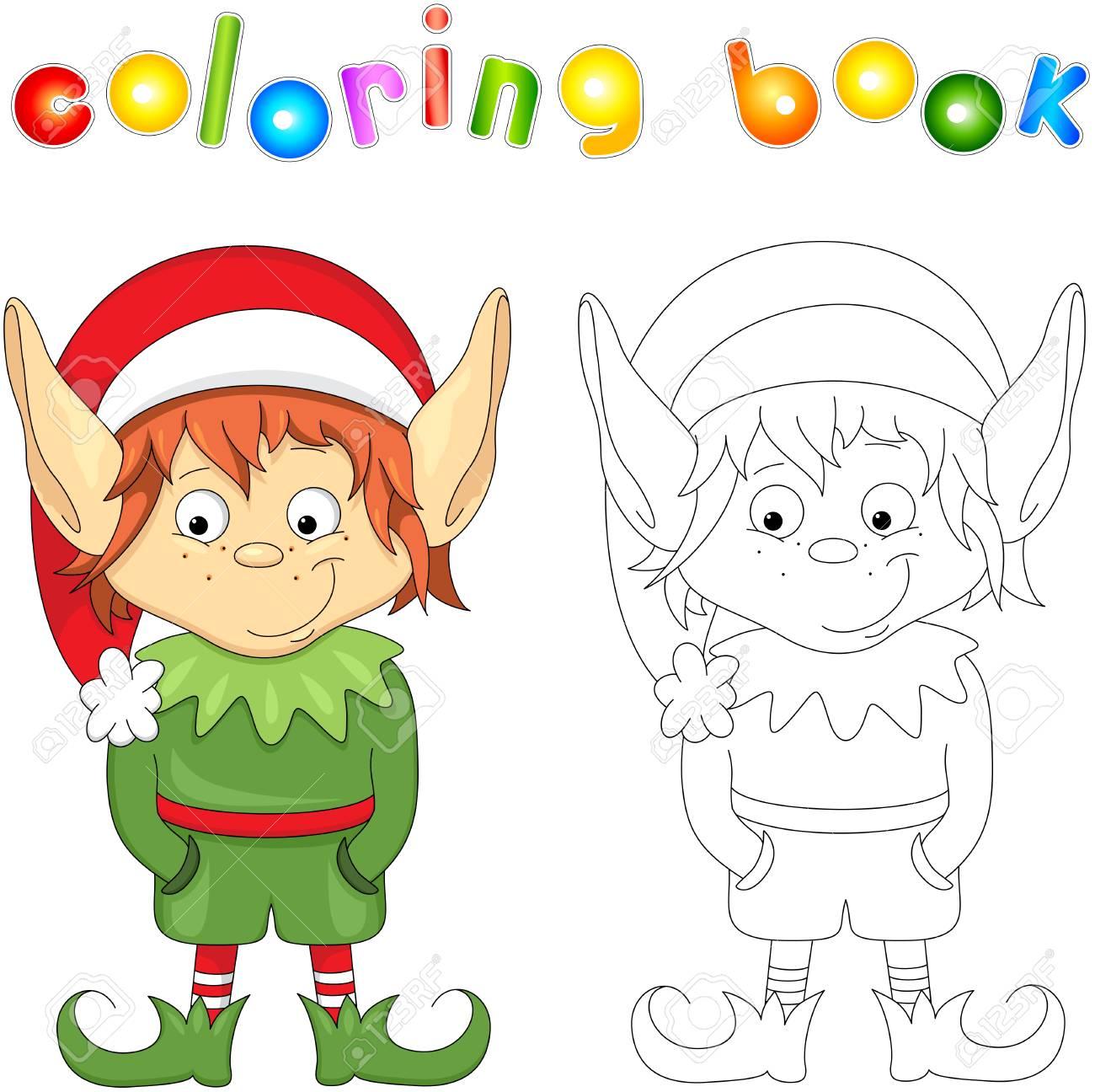 Encantador Duende De Navidad Para Colorear Para Niños Composición ...