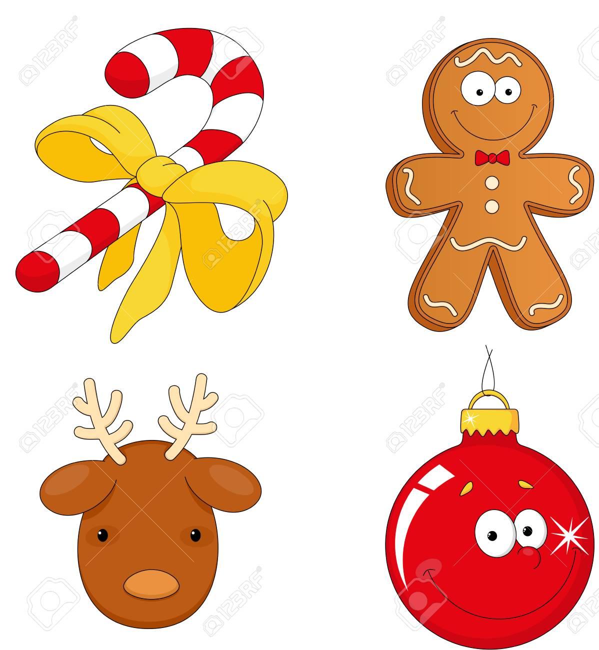 Bastón De Caramelo Del Navidad, Hombre De Pan De Jengibre, Renos Y ...