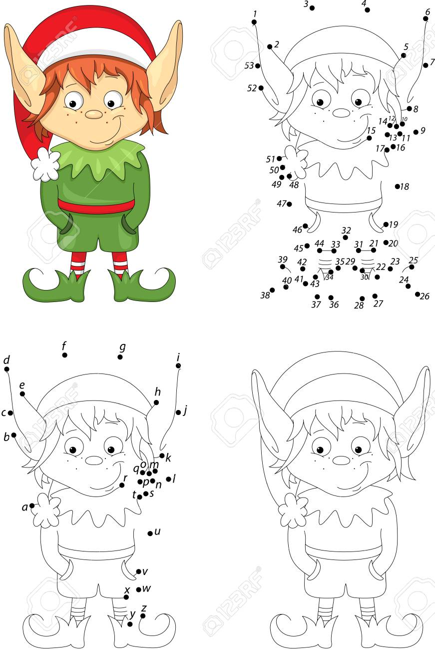 Christmas Elf. Coloring Book And Dot To Dot Educational Game ...