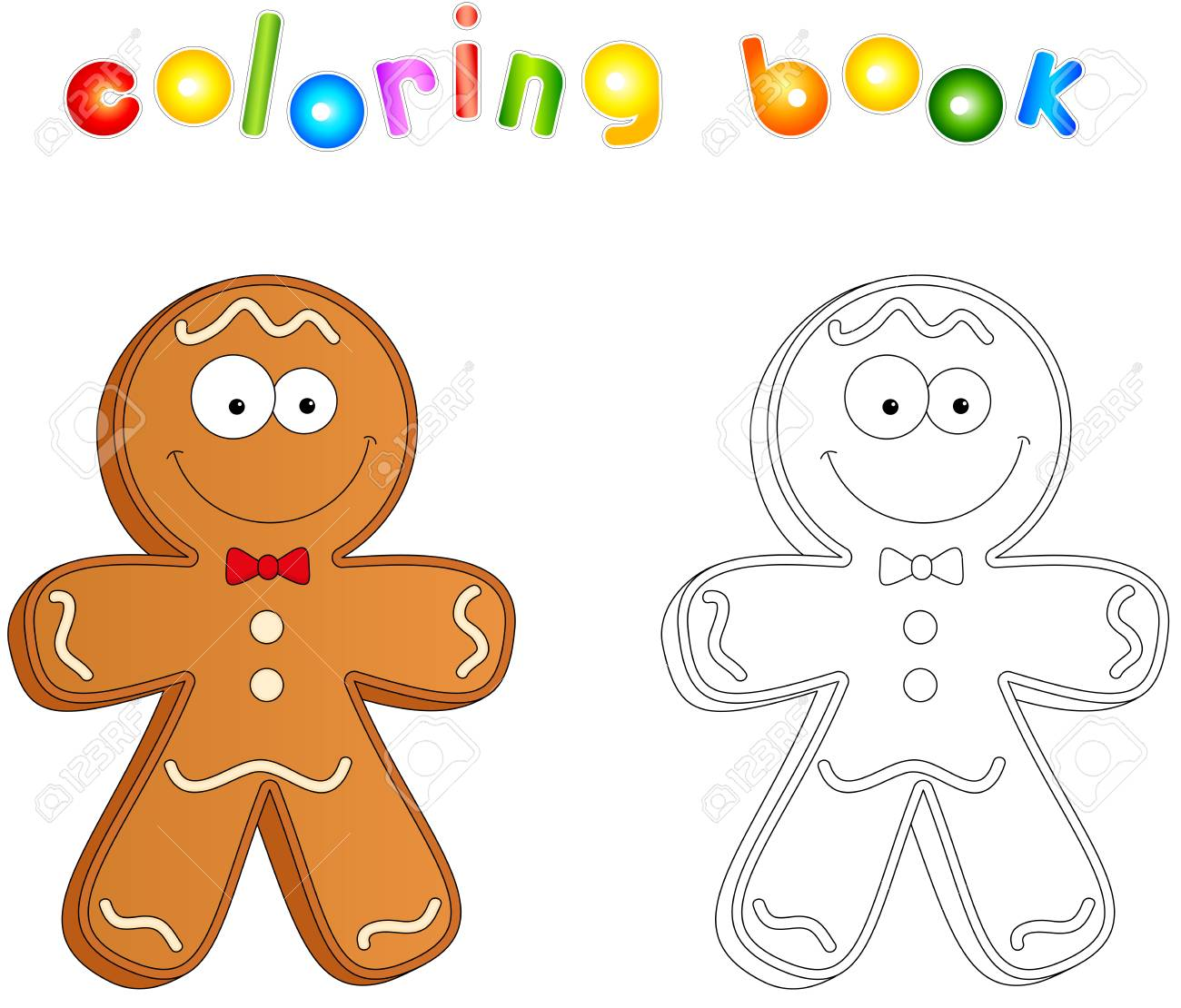 - Christmas Gingerbread Man. Coloring Book For Kids Royalty Free