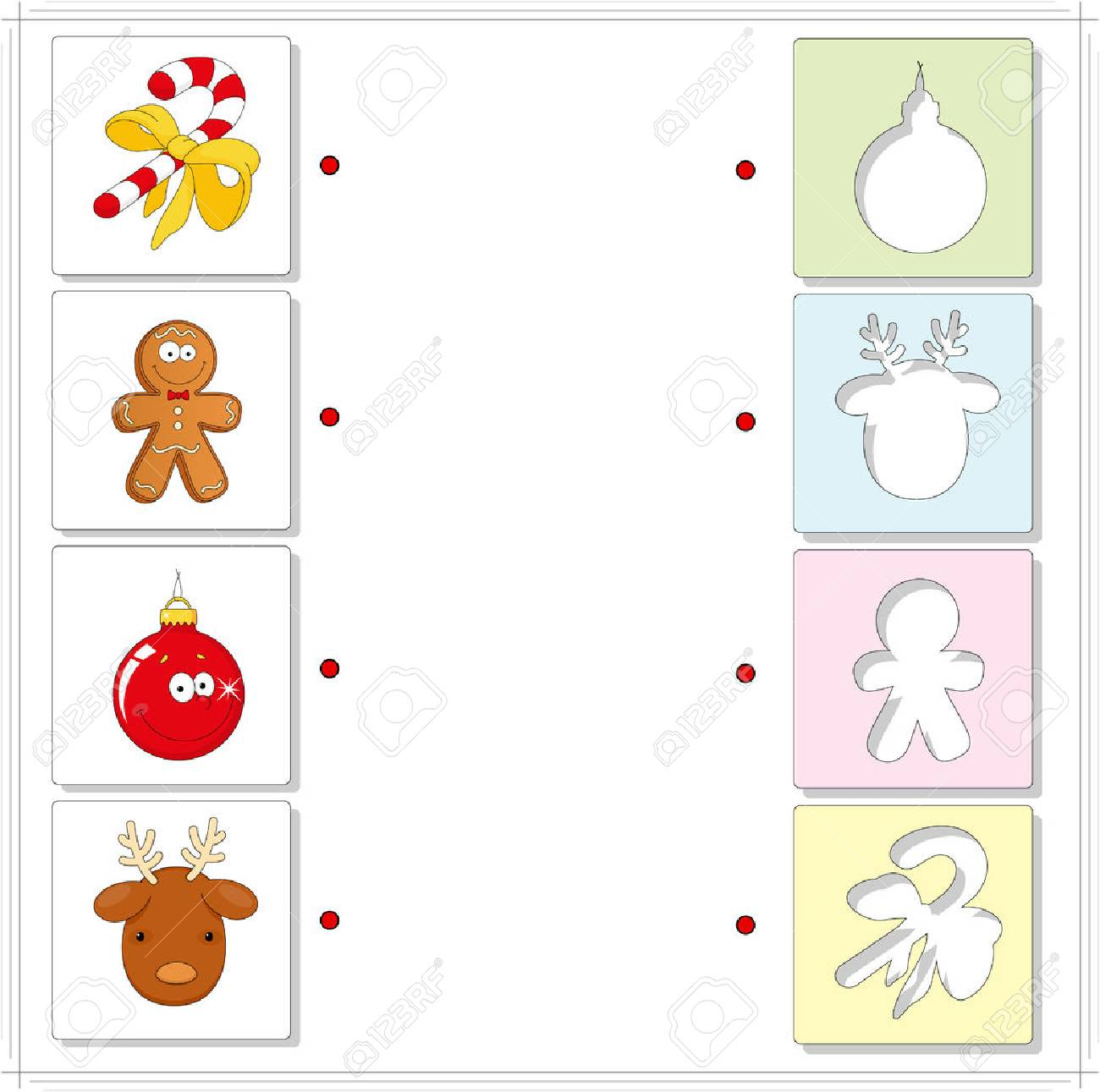 christmas reindeer candy cane gingerbread man and ball educational game for kids