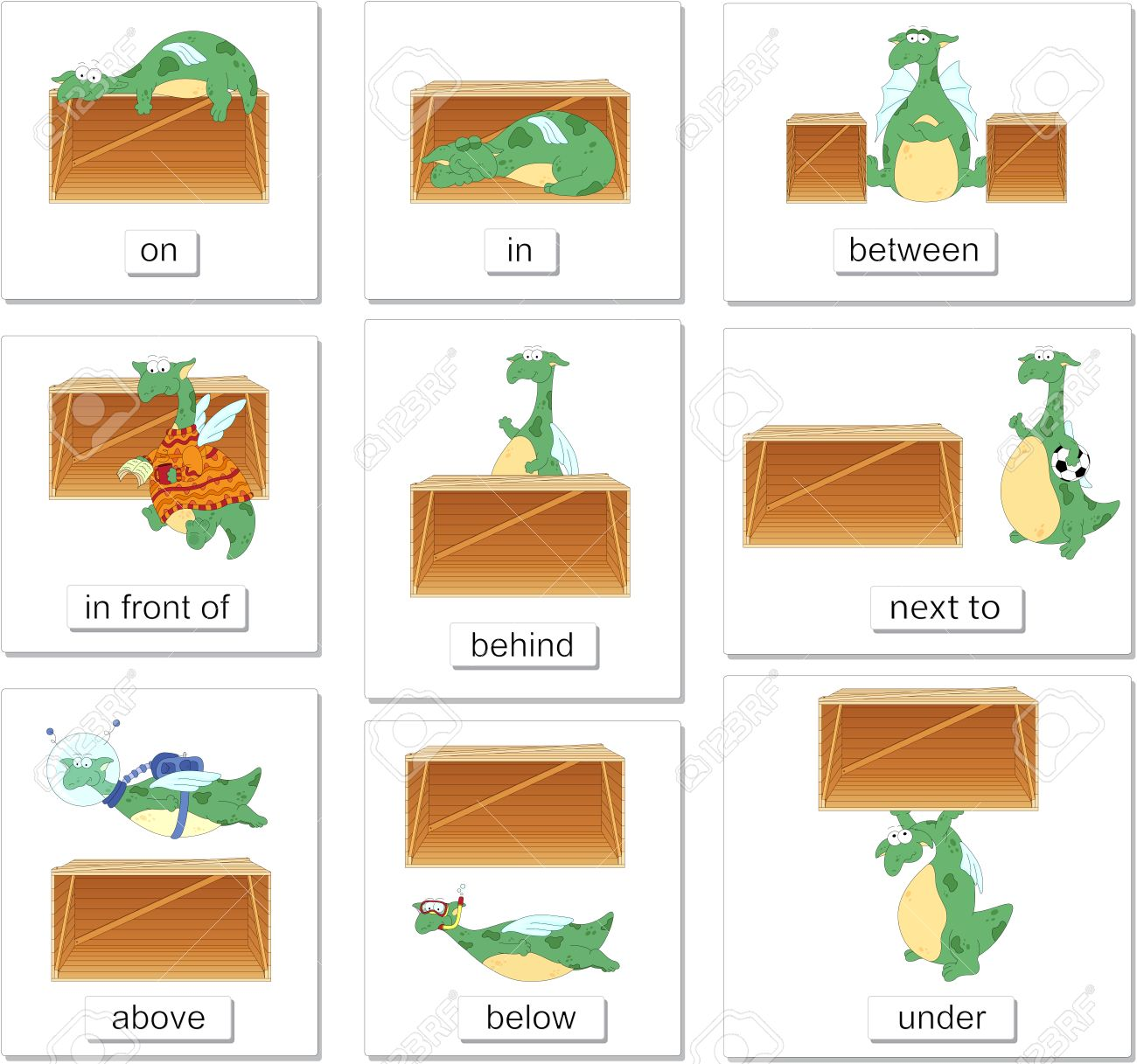 Cartoon Dragon And Box English Grammar In Pictures For Students Pupils Preschoolers