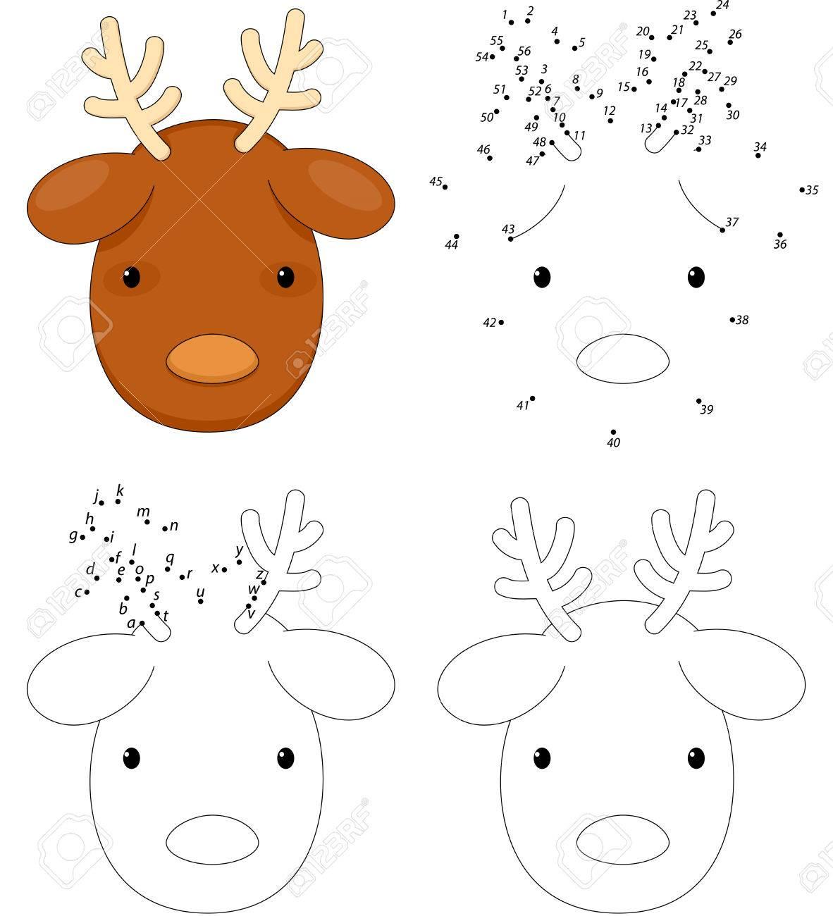 Renos De Dibujos Animados De Navidad. Libro Para Colorear Y Juego ...