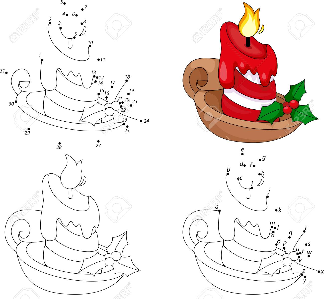 Christmas Cartoon Candle Coloring Book And Dot To Educational Game For Kids Stock Vector