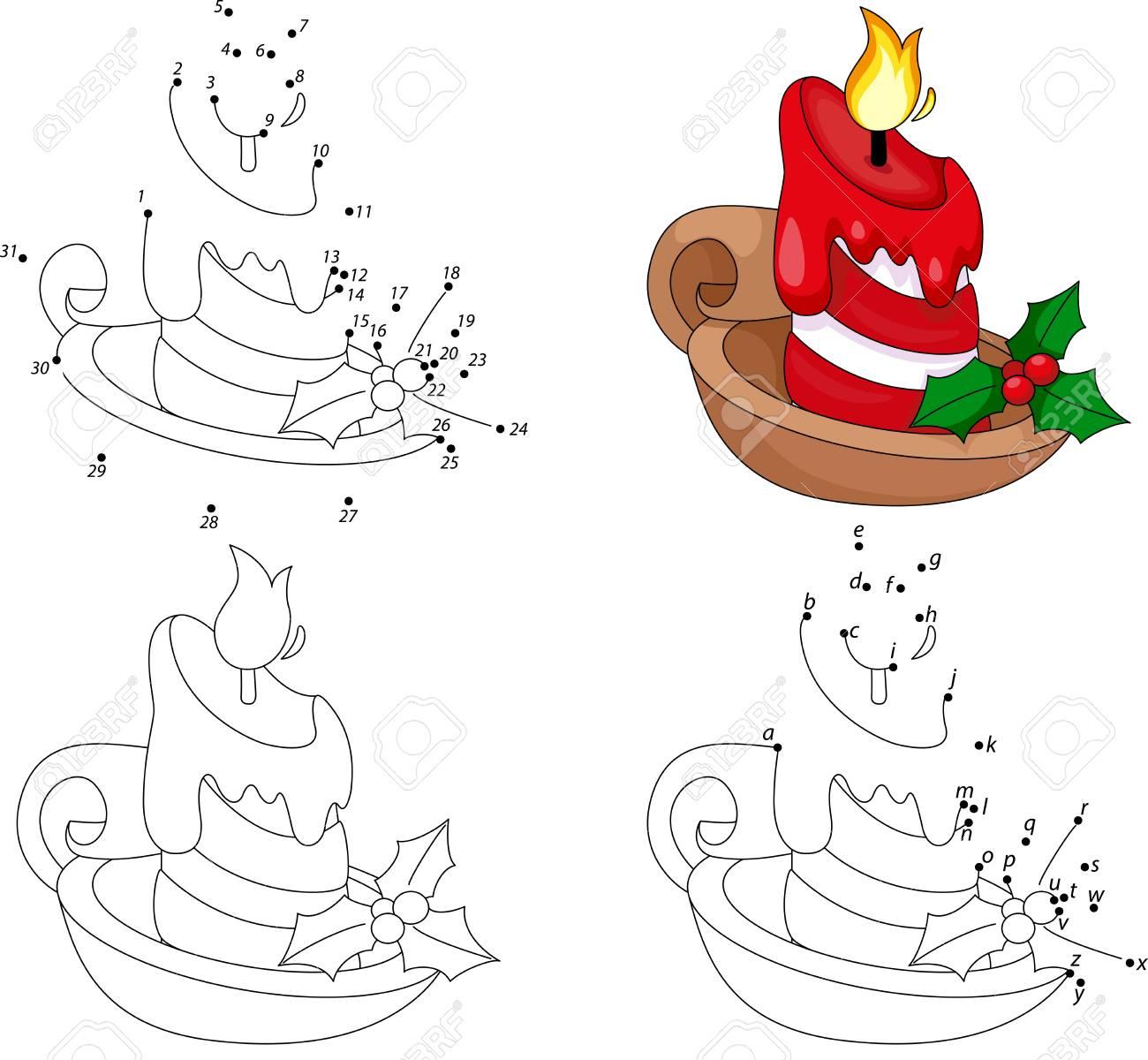 Vela De Dibujos Animados De Navidad. Libro Para Colorear Y Punto A ...