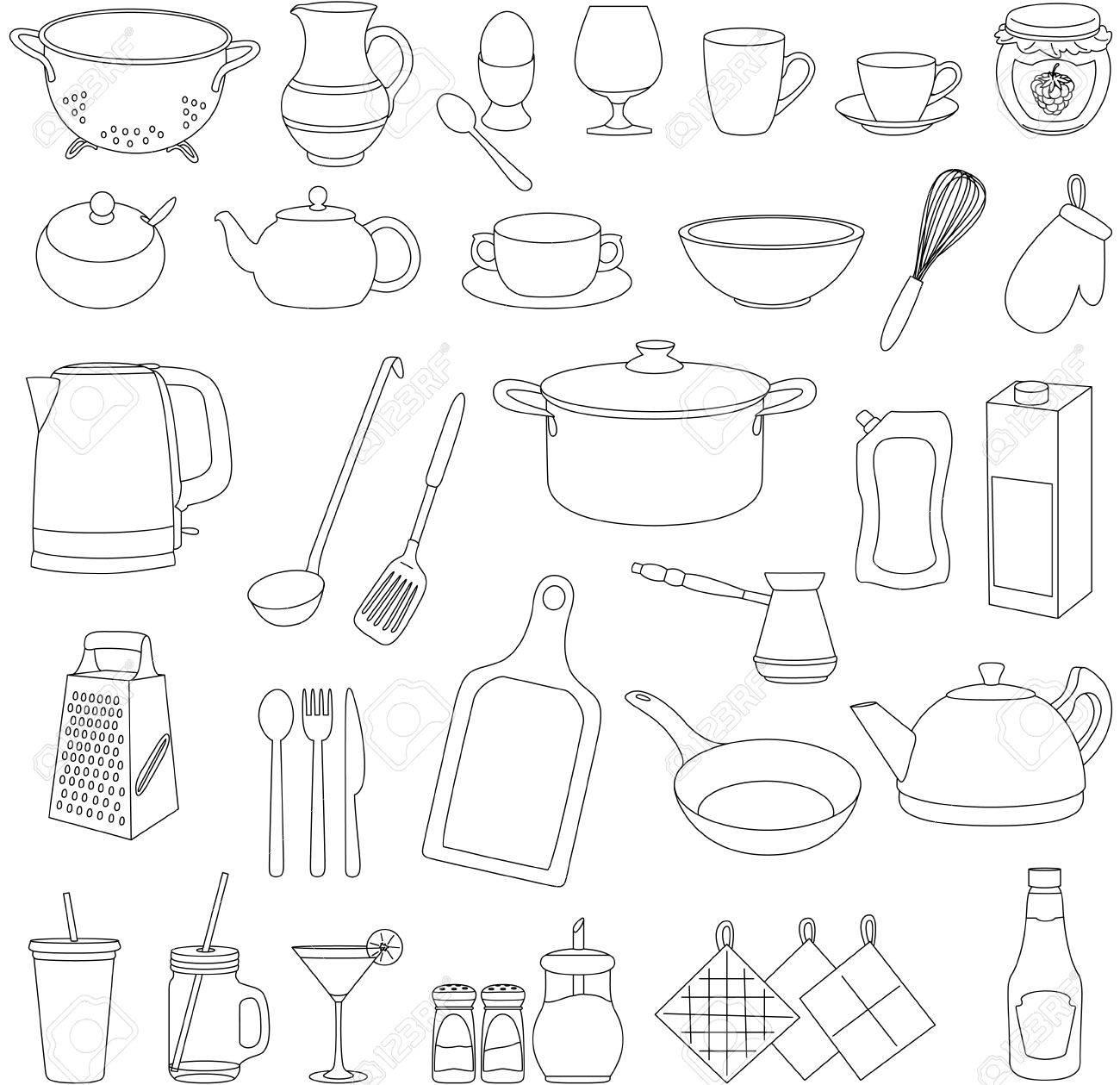Conjunto De Vajilla De Dibujos Animados Olla Sartén Plato Hervidor De Agua Una Taza Vaso Tenedor Cuchara Cuchillo Rallador Tazón De