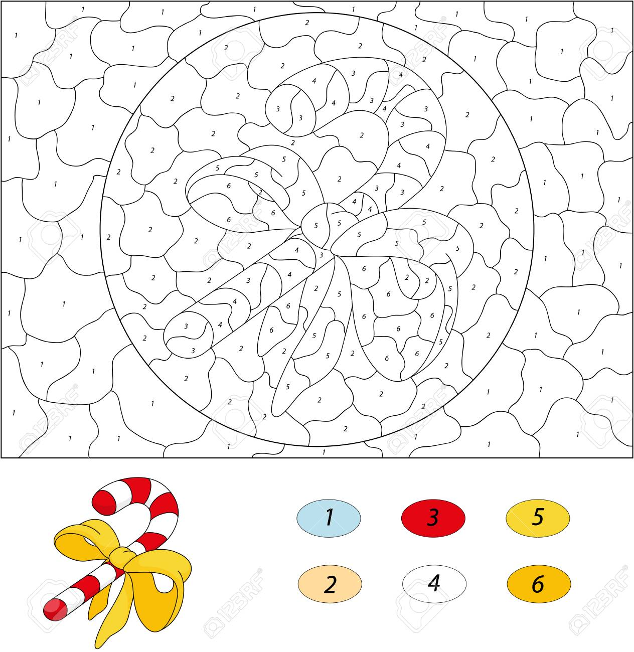 Cartoon Candy Cane. Color By Number Educational Game For Kids ...