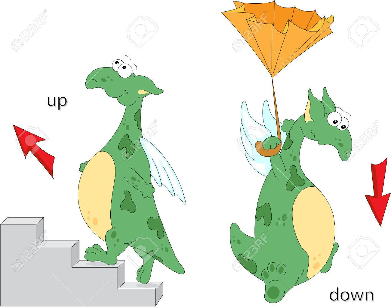 Cartoon Dragon Goes Up The Stairs And Flies Down With An Umbrella English Grammar In