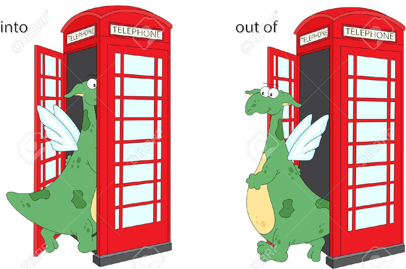 cartoon dragon goes into and out of telephone box english grammar