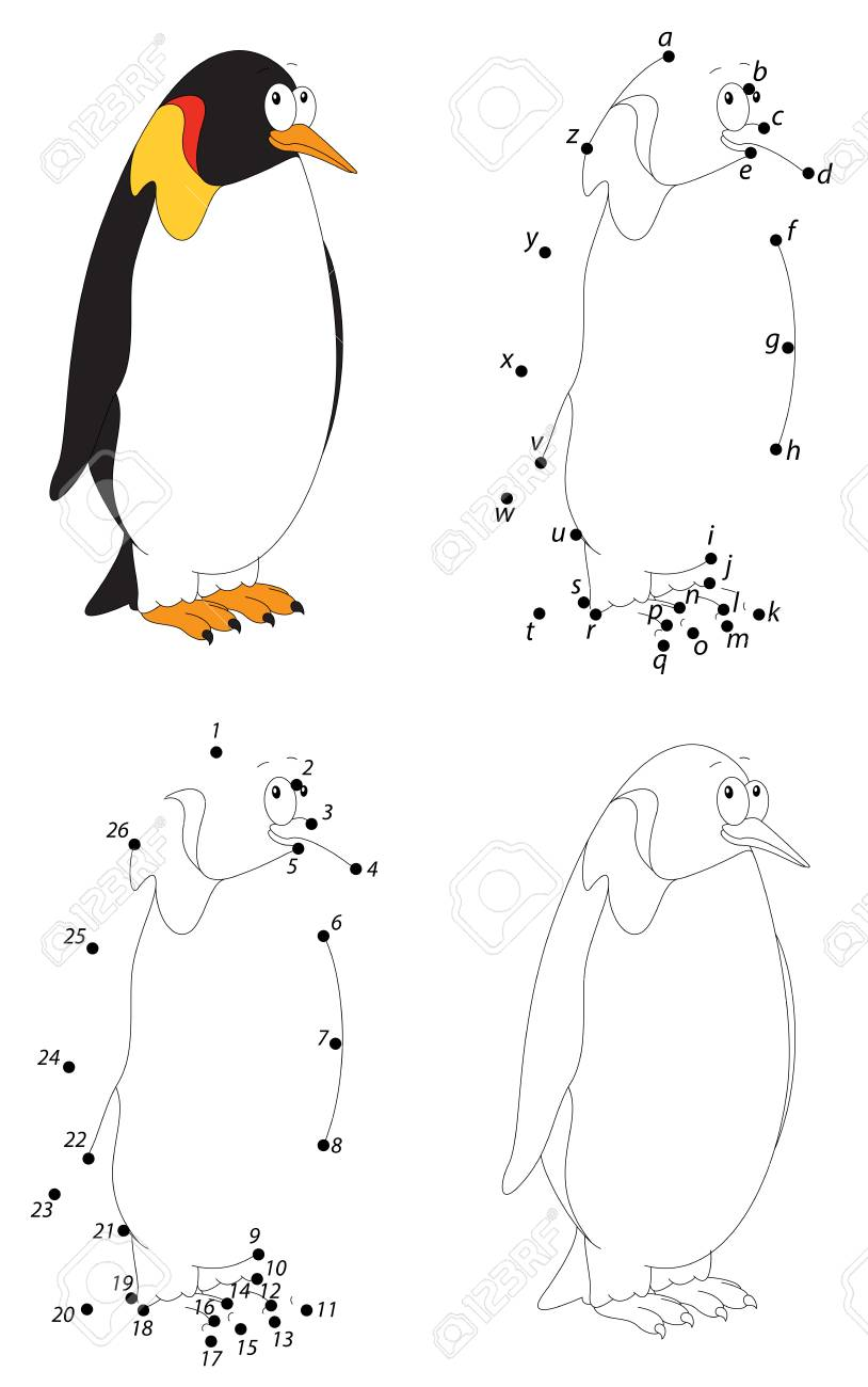 Cartoon Imperial Penguin. Coloring Book And Dot To Dot Educational ...