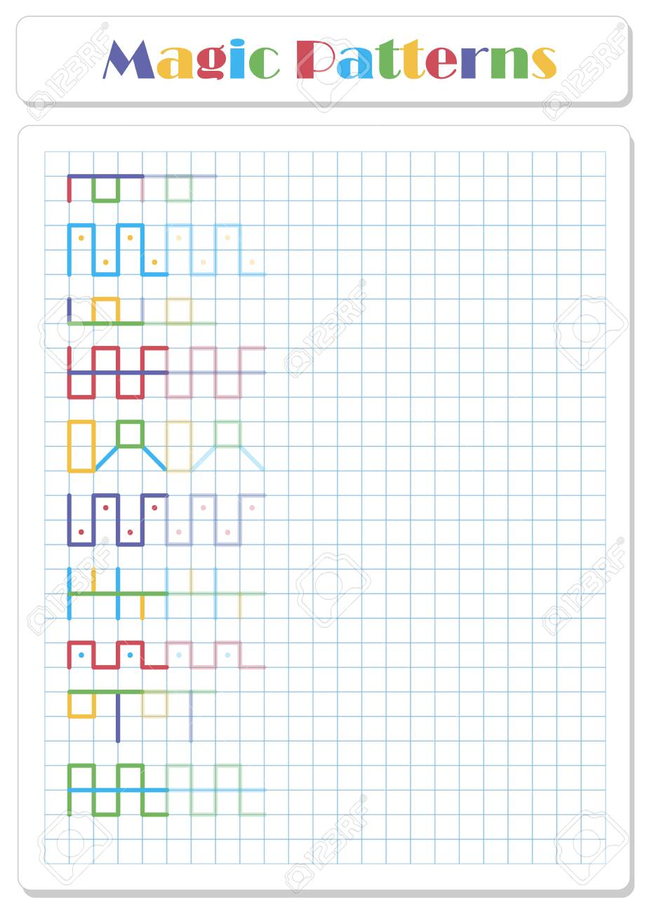 Continue the pattern with crayons or felt-tip pens. Worksheet..