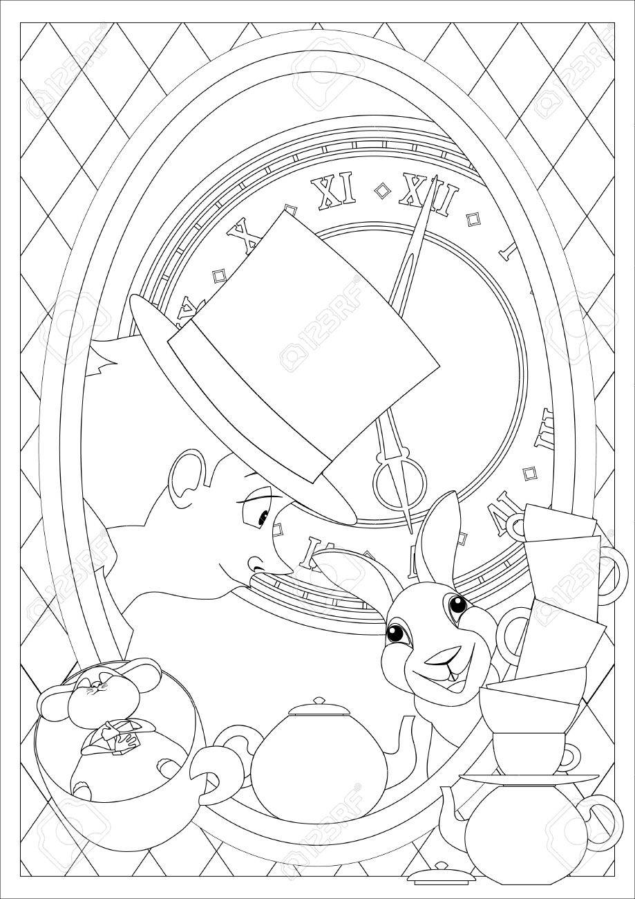 Coloring Page. Alice In Wonderland. Mad Tea Party. Hatter Dormouse ...