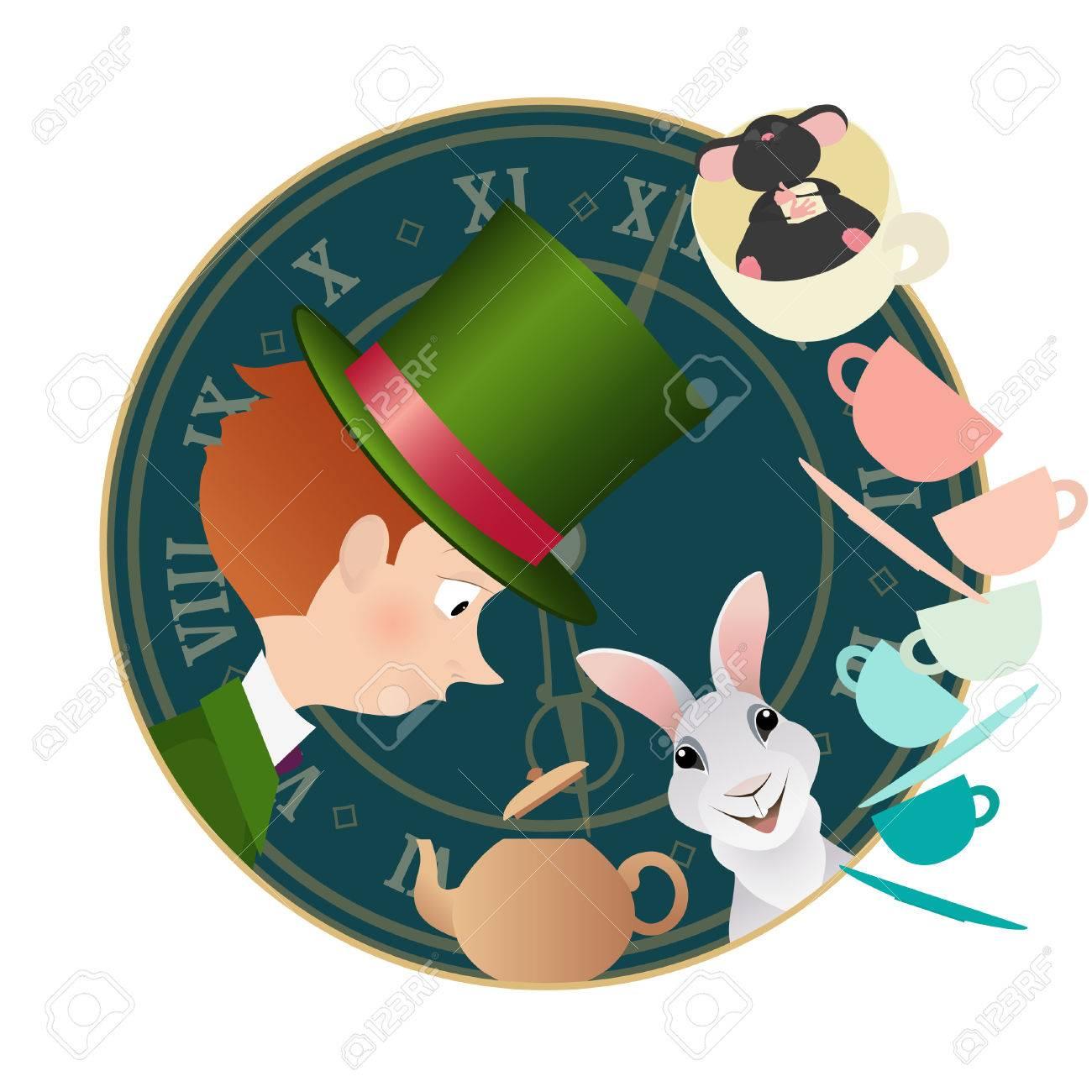不思議の国のアリス帽子屋ヤマネ白うさぎマッドティー パーティー