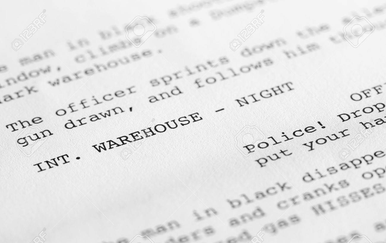 close up of a page from a screenplay or script in proper format