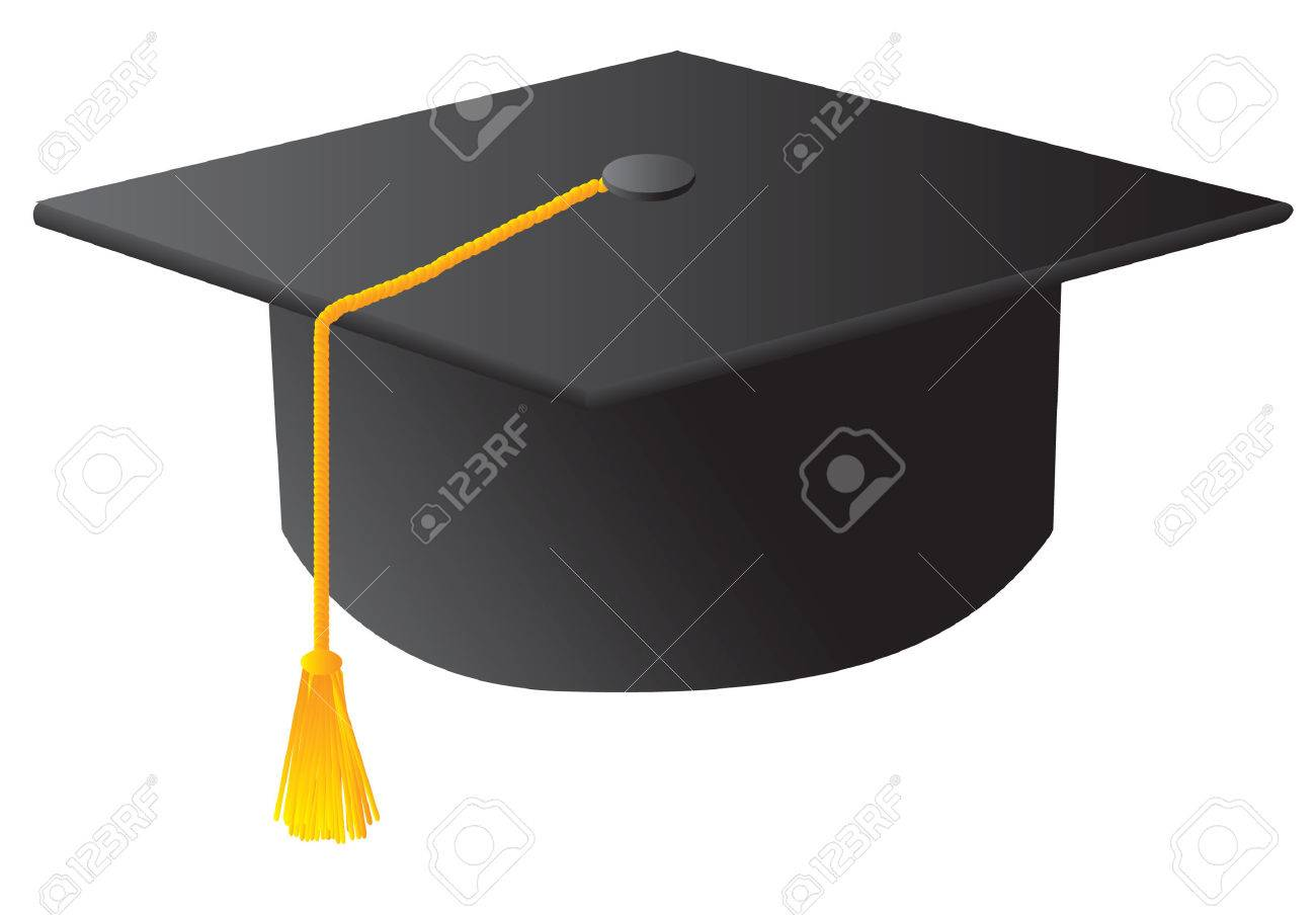 The Black Student Graduation Hat. Vector Illustration Royalty Free ...
