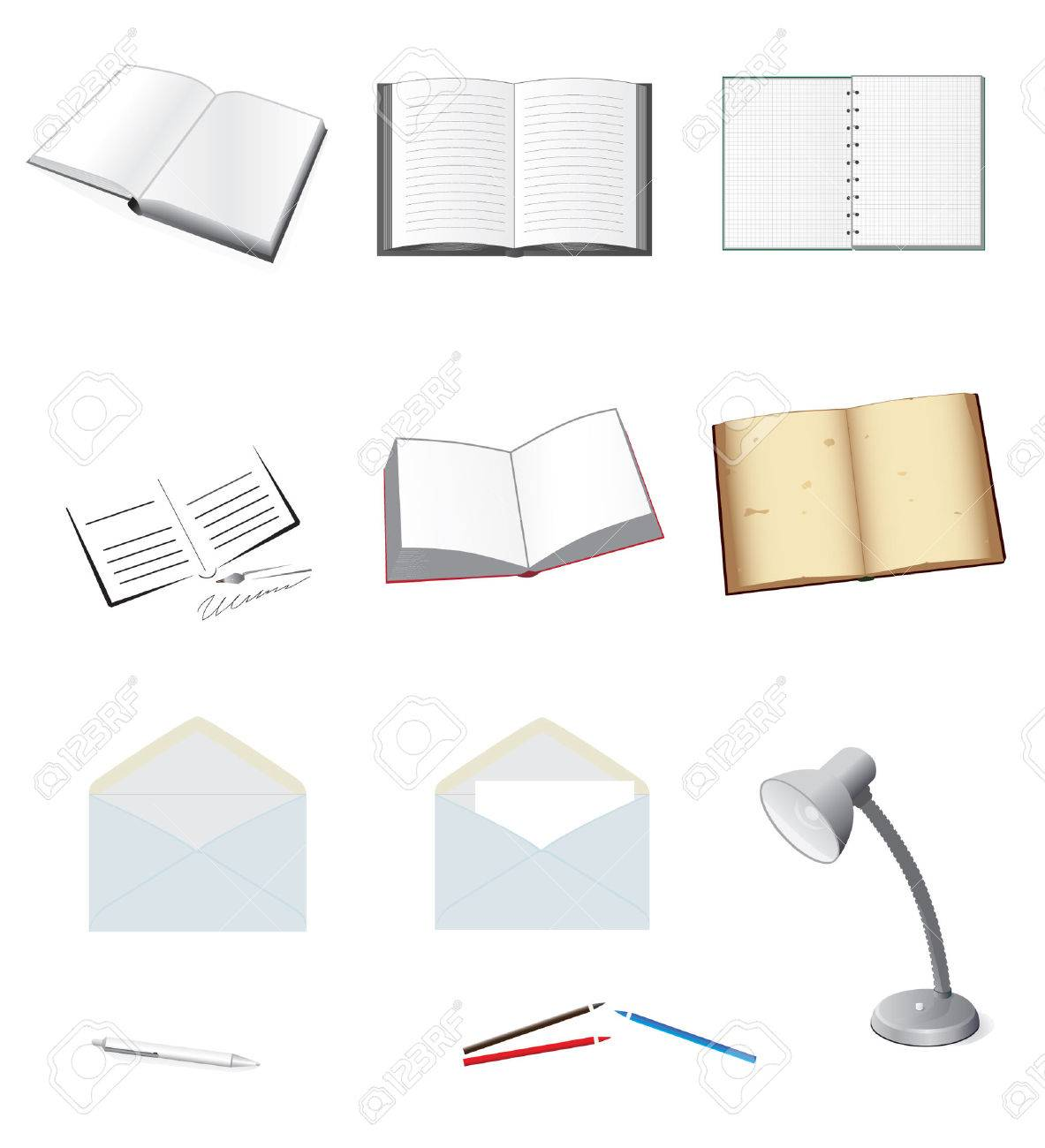 A set of stationery for school and office. Vector illustration Stock Vector - 5464674