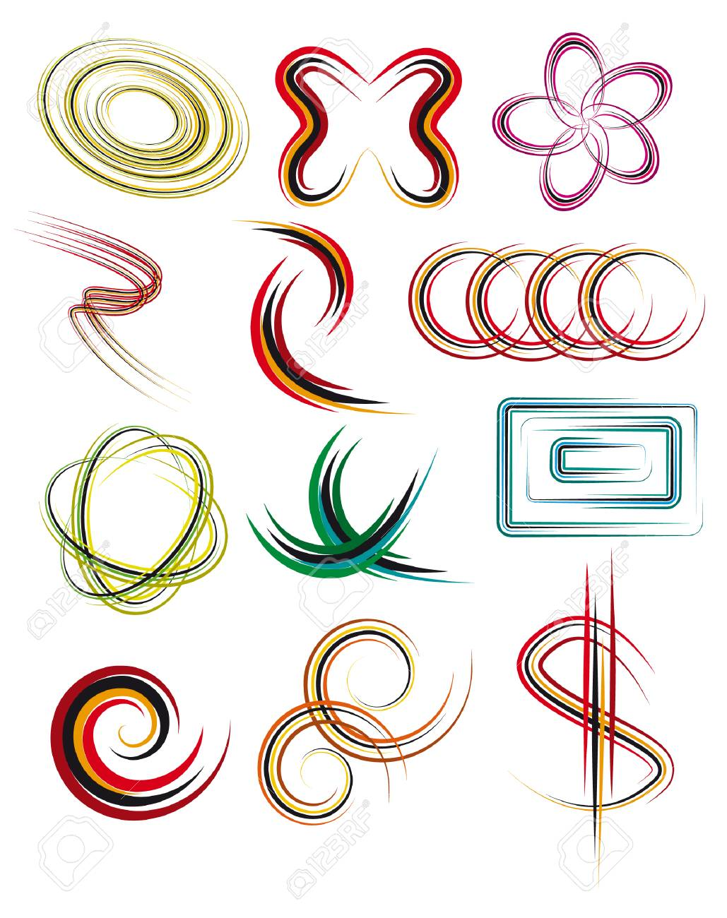 A set of abstract design elements. Vector illustration Stock Vector - 6062841