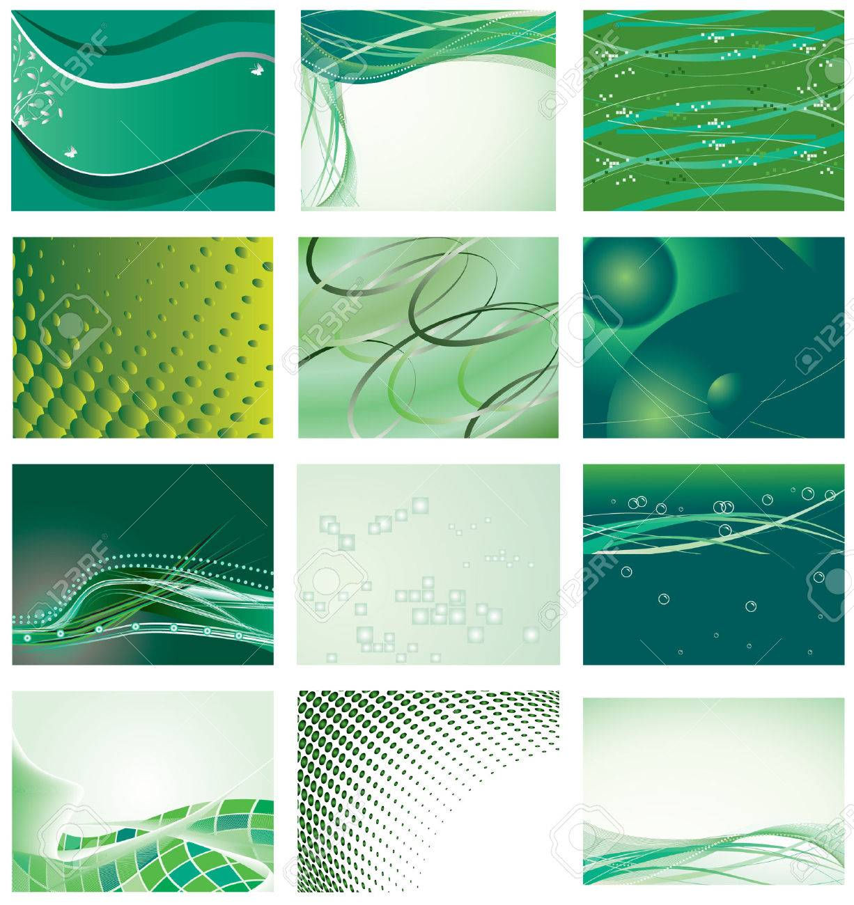 Collection of green background for design. Stock Vector - 6550091