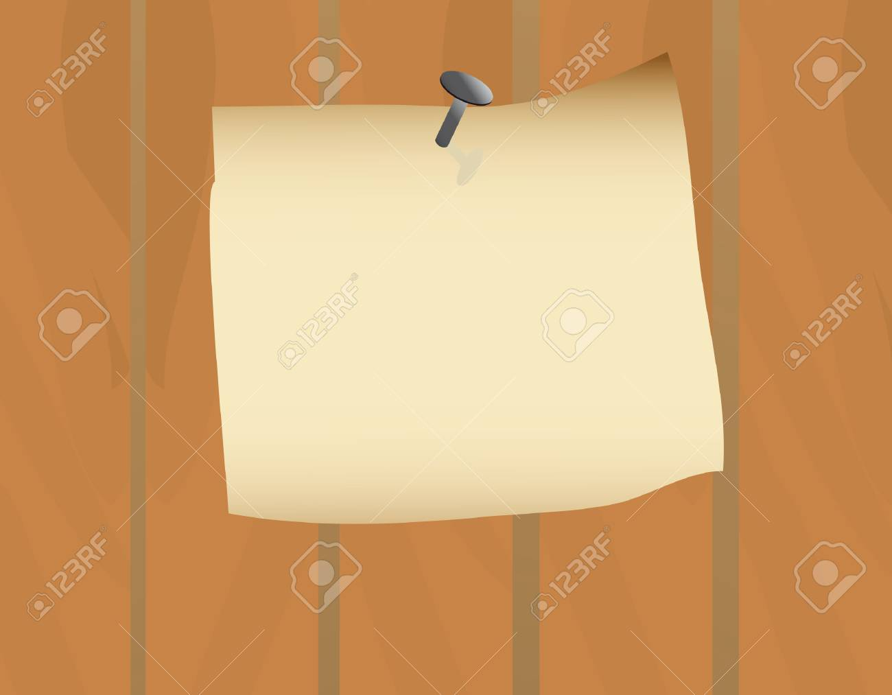 Announcement on the old fence. illustration Stock Vector - 6634148