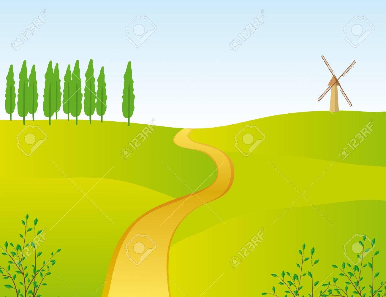 The narrow road through the field. illustration Stock Vector - 6783588