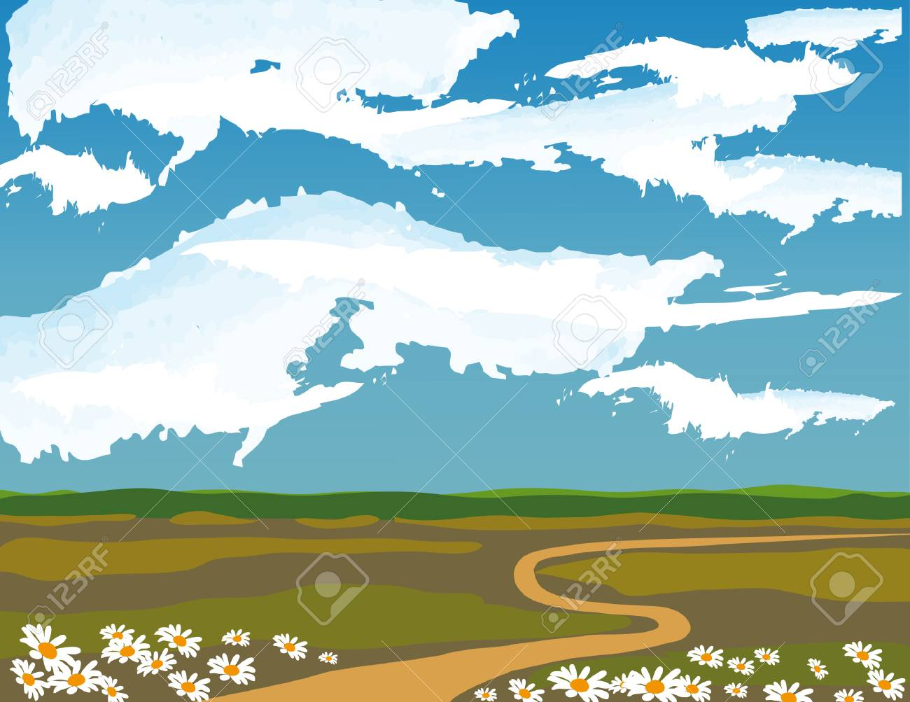 Blue sky with white clouds Stock Vector - 8427693