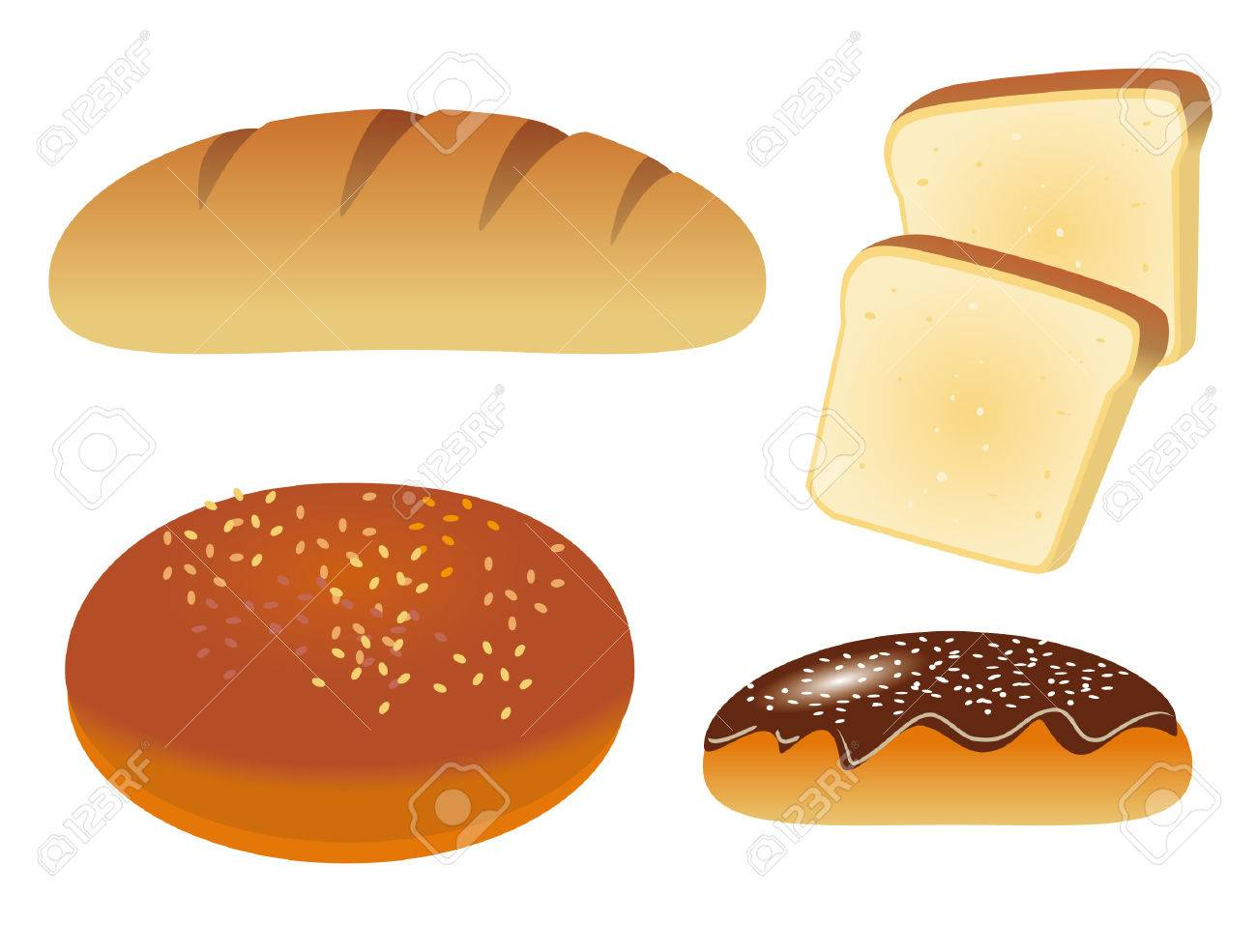 A set of four icons with bread Stock Vector - 8427697
