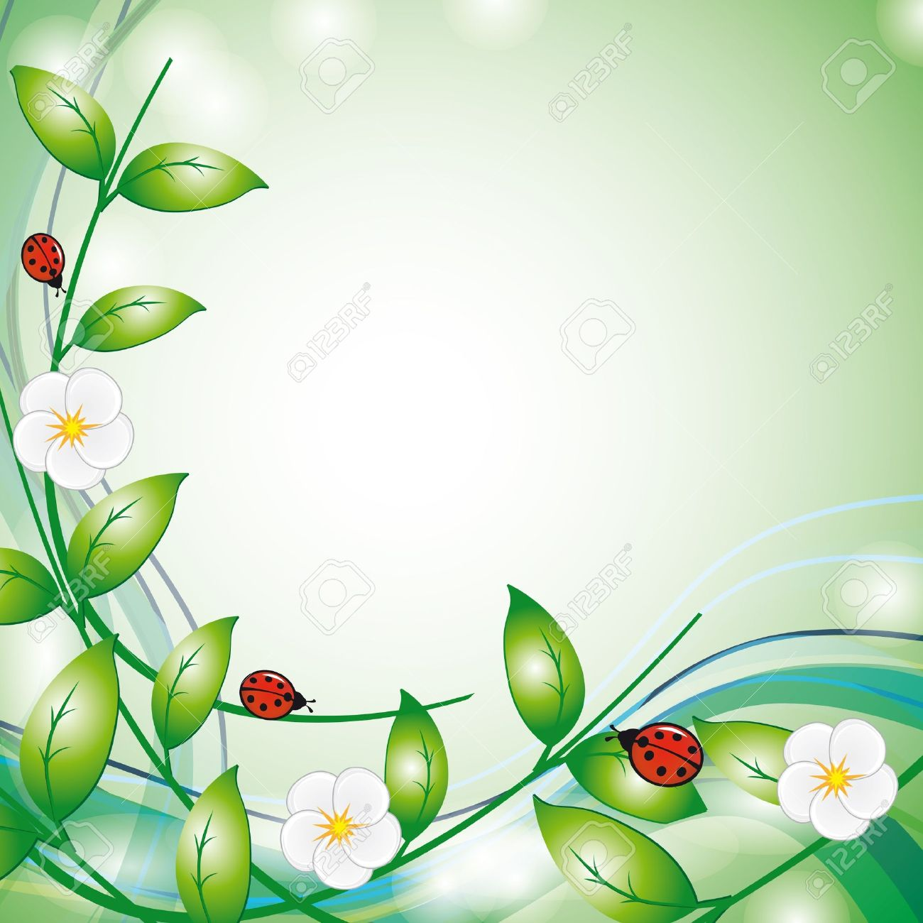 Summer background with flowers and ladybirds. Vector illustration Stock Vector - 9805756