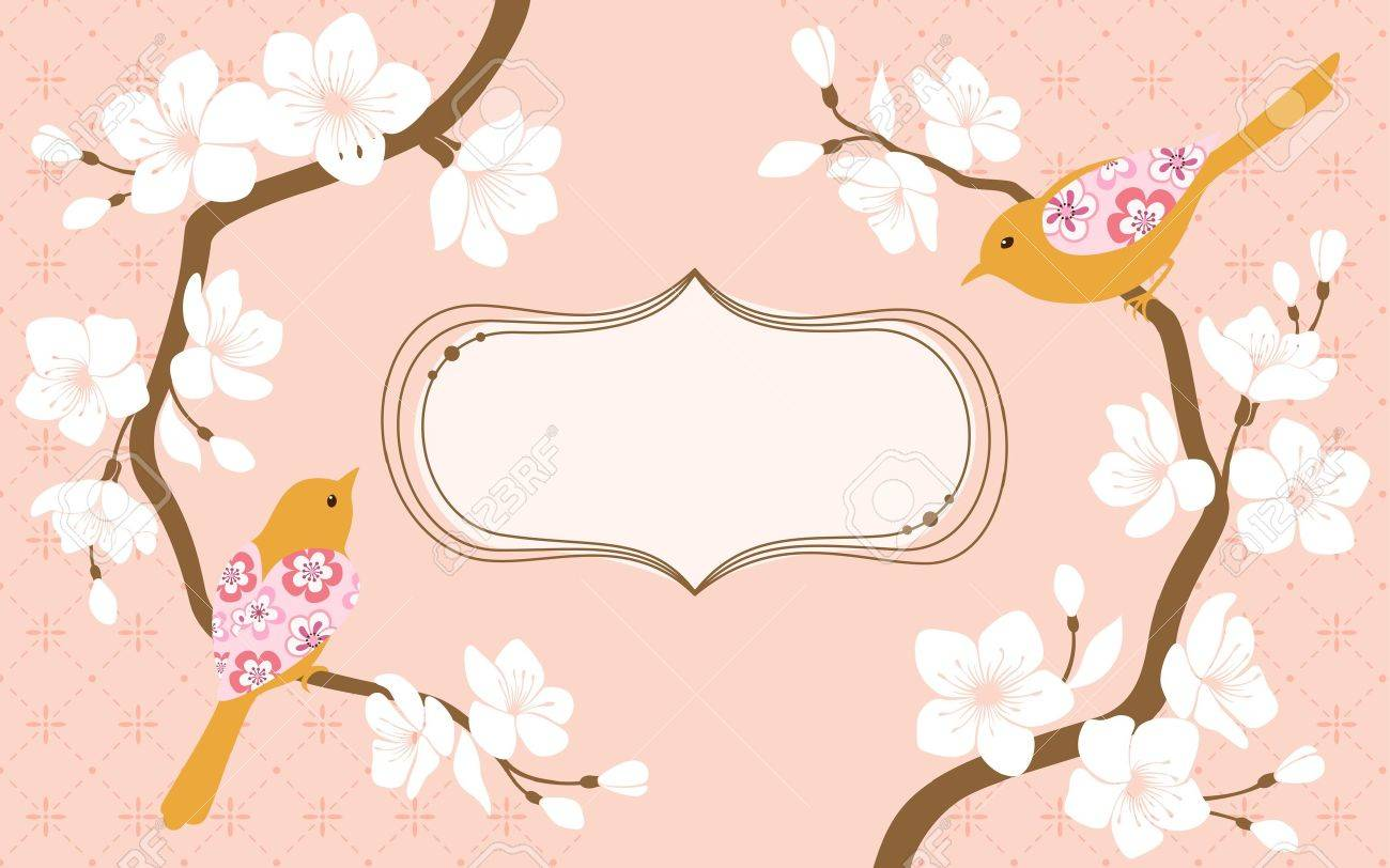 Two blossom cherry branches with flower bird and space for text Stock Vector - 13080696