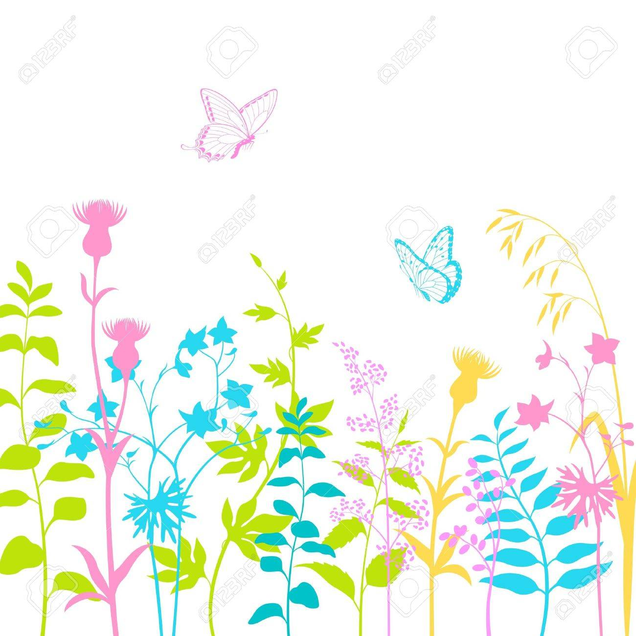 Colorful floral design with butterflies and multicolored  herb silhouettes. Stock Vector - 14085250