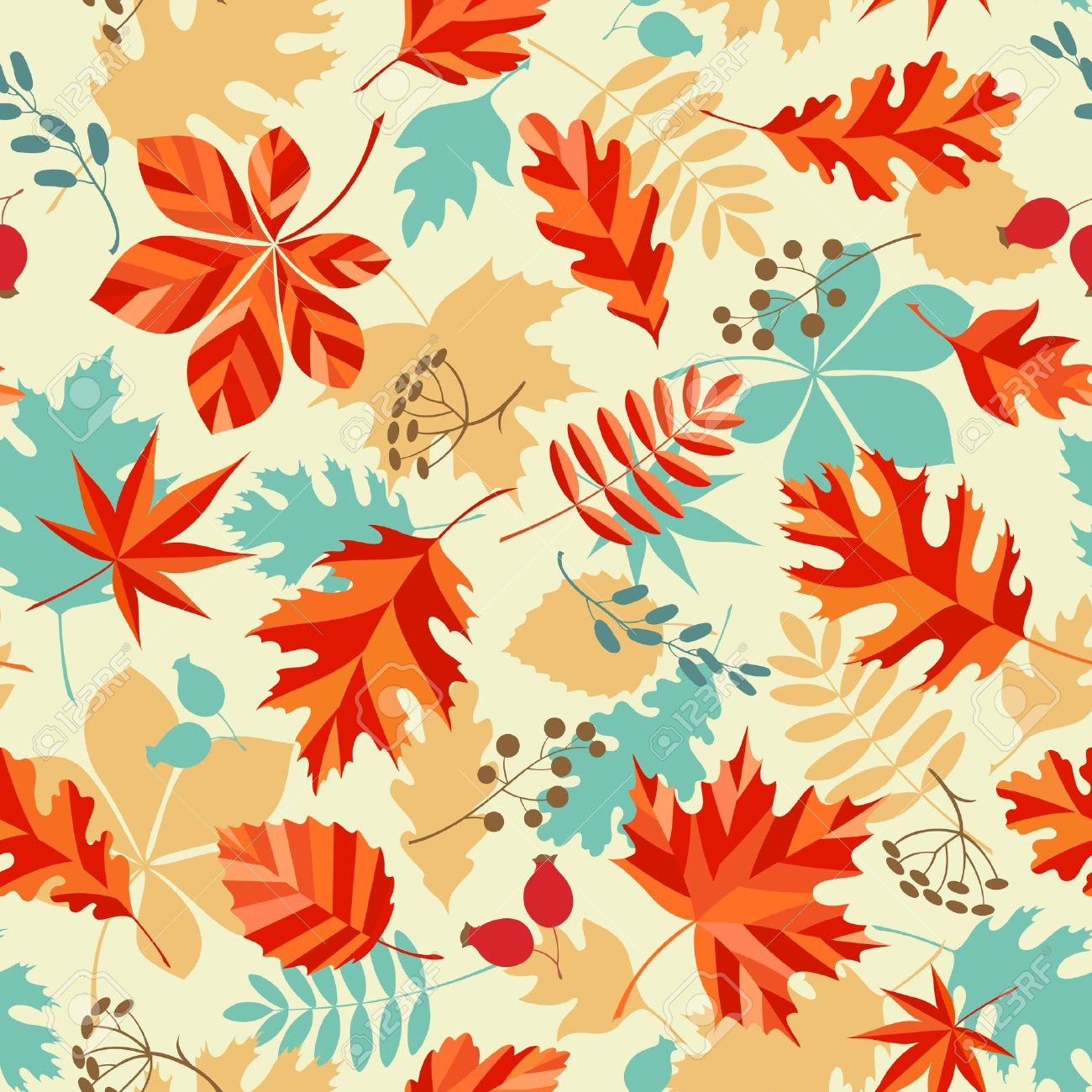 seamless pattern with autumn leaves and berries royalty free