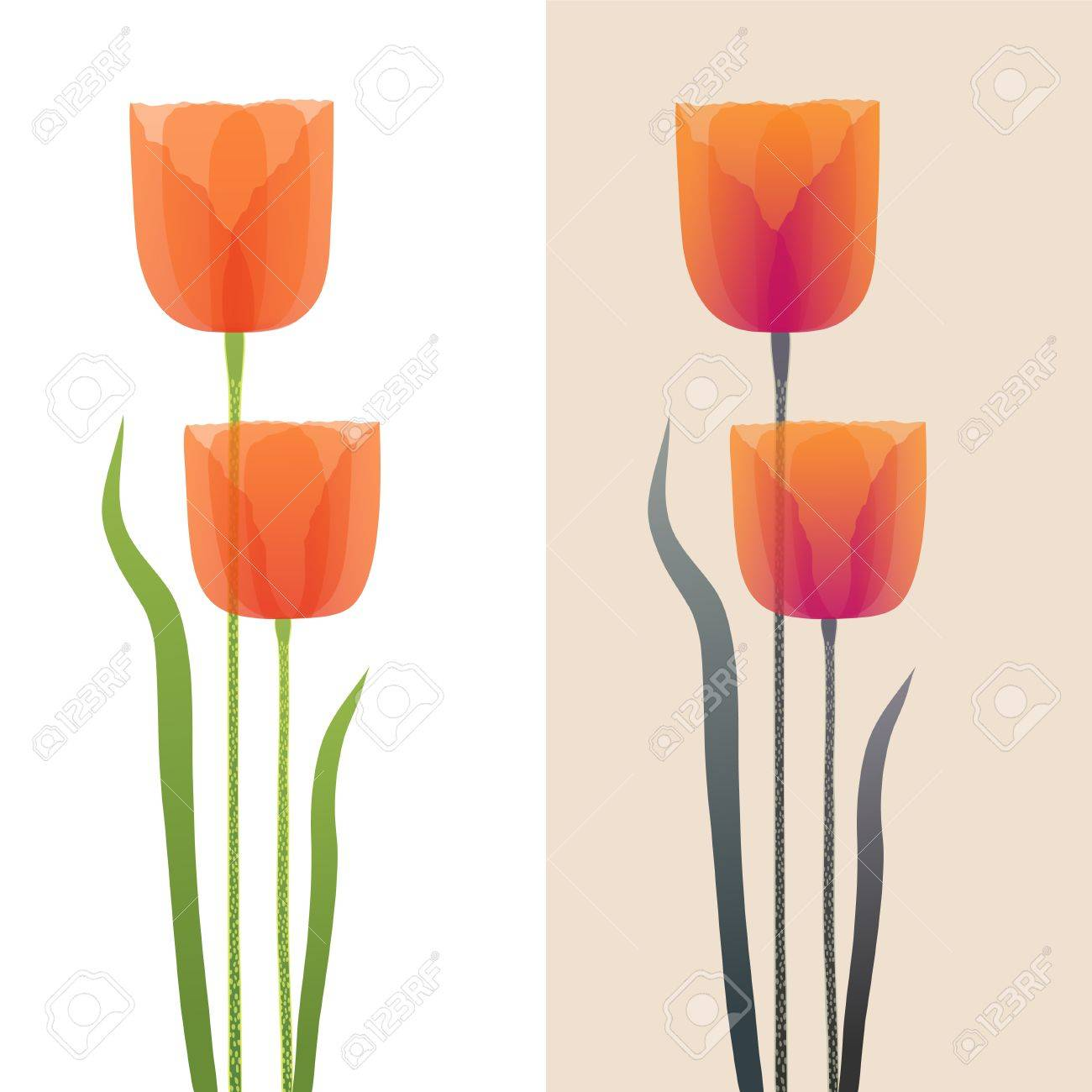 Decorative poppies in two color variations Stock Vector - 15101106