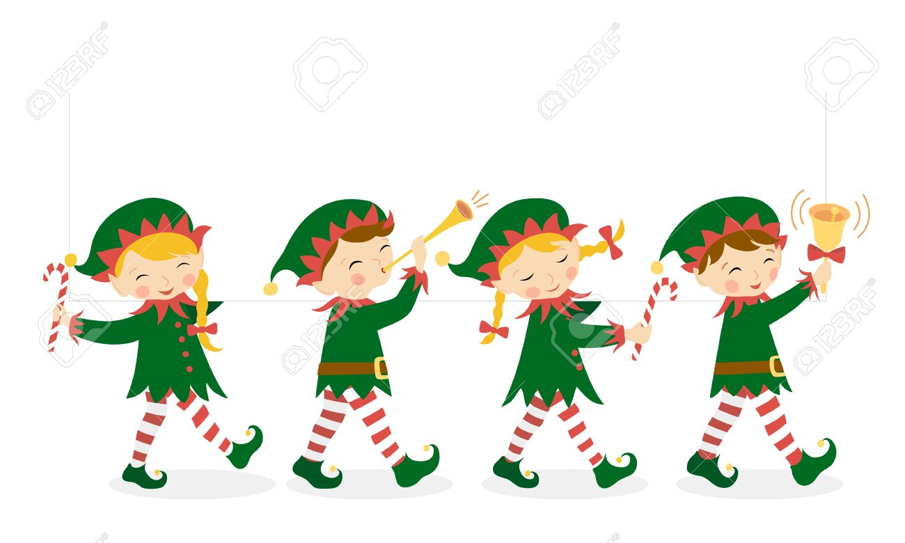 Christmas Elves.Four Christmas Elves Carrying A White Banner For Your Design