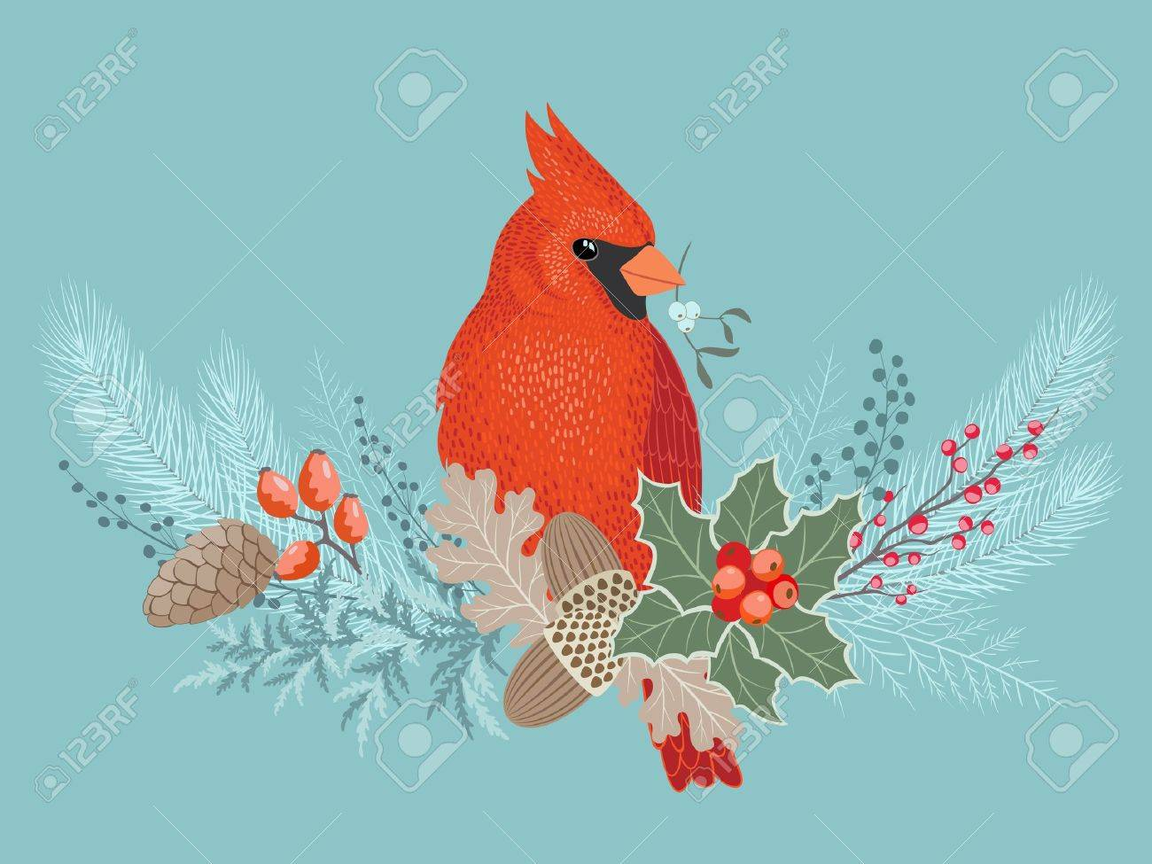 Cardinal Bird On Frosty Christmas Decoration. Royalty Free ...