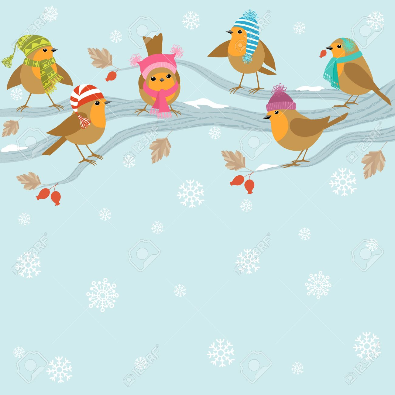 Winter background with cute birds in hats sitting on branch Stock Vector - 16009261