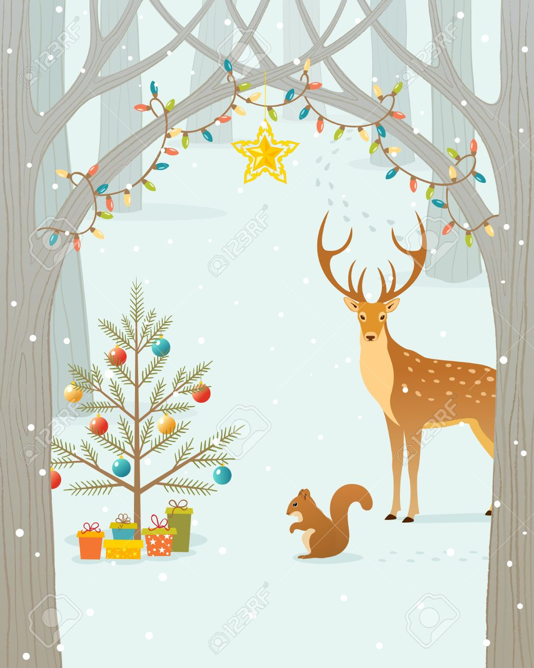 Christmas gifts for forest animals. Stock Vector - 16082967