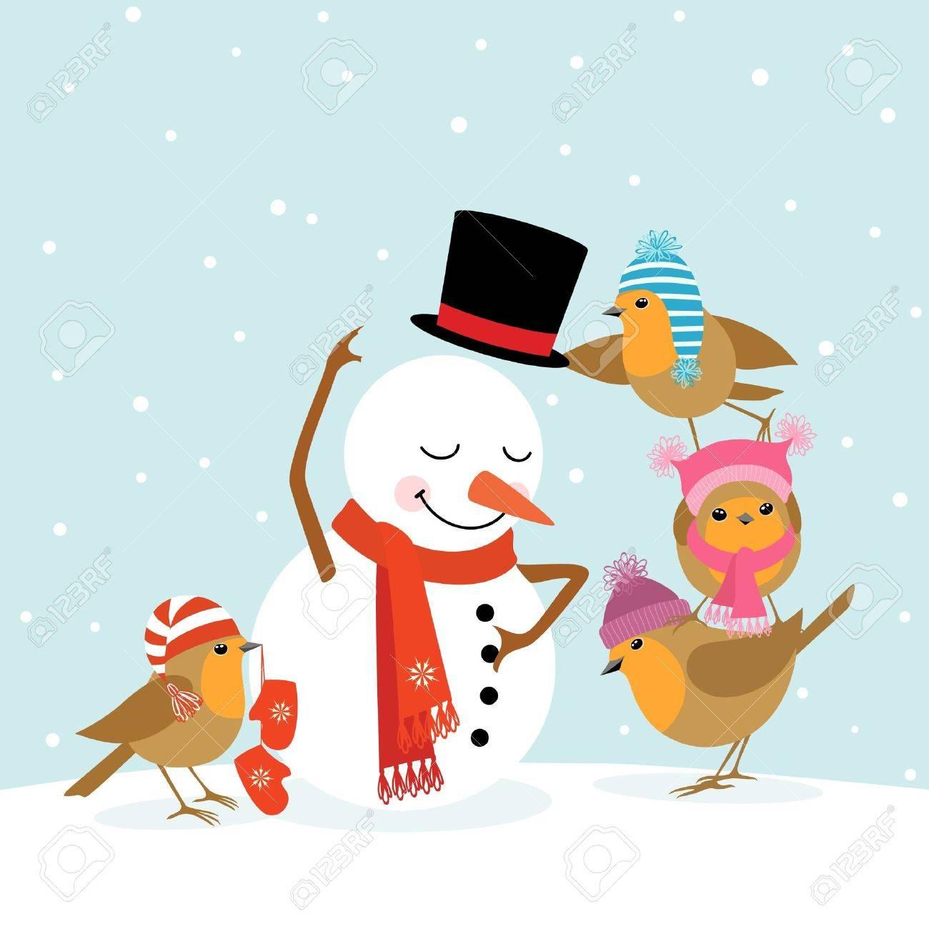 Funny Robins birds making a snowman. Stock Vector - 16211146