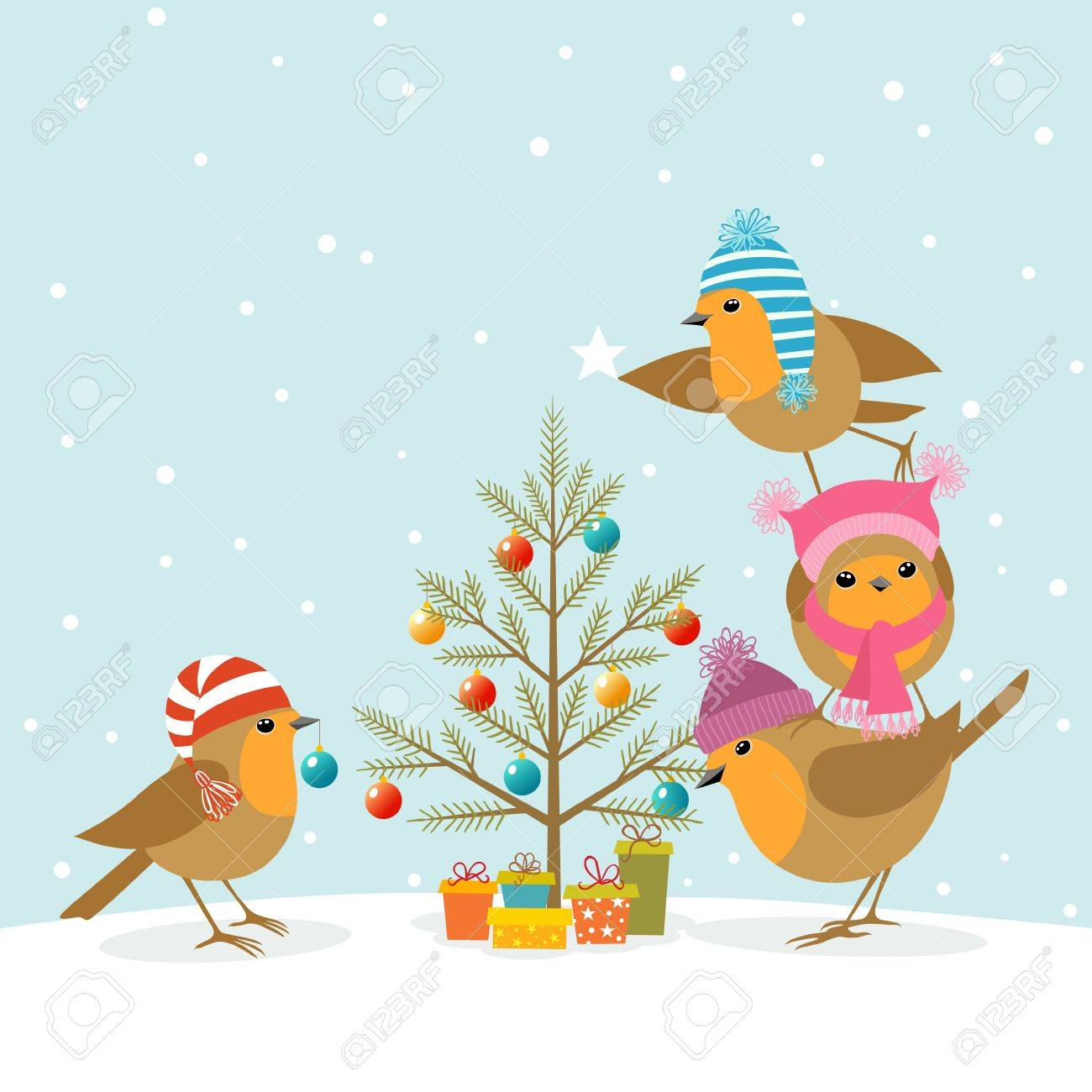 Funny Robins decorating a Christmas tree. Stock Vector - 16211147