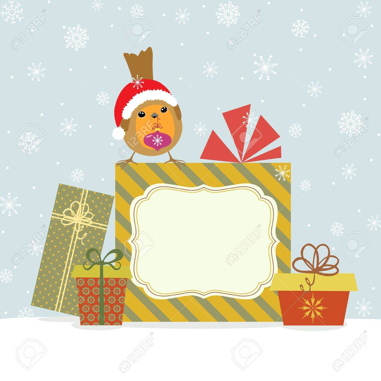 Christmas card with Robin, gifts and copy space. Stock Vector - 16460556