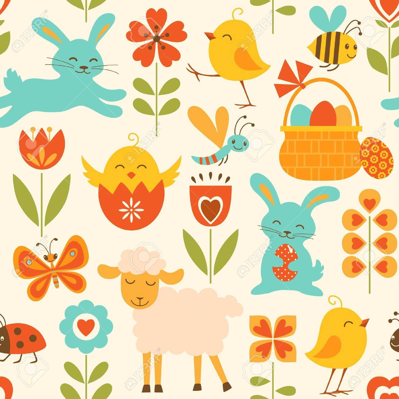Easter symbols cute seamless pattern with easter symbols royalty free cliparts buycottarizona Images