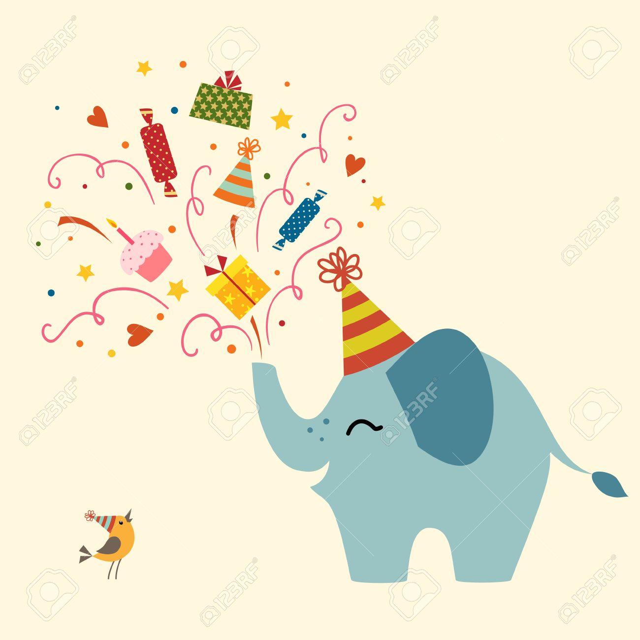 Birthday greetings from cute elephant. - 19403588