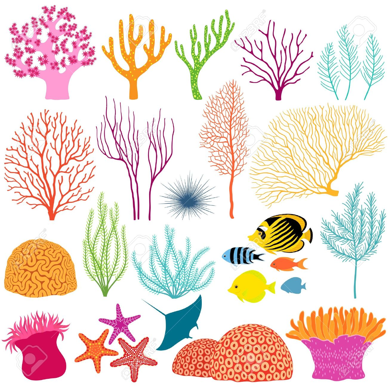 Set of colorful underwater design elements - 20615520