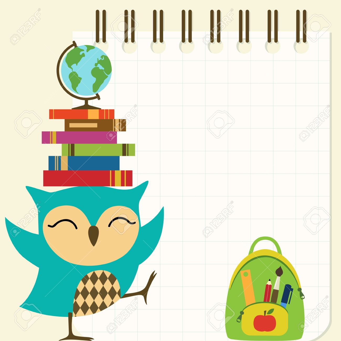 back to school illustration with little owl. royalty free cliparts
