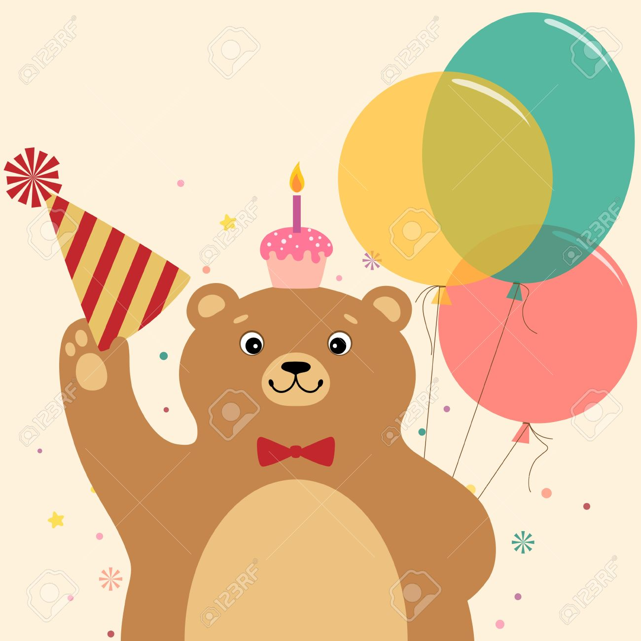 Cute Cartoon Bear With Birthday Cake Vector Contains Transparent