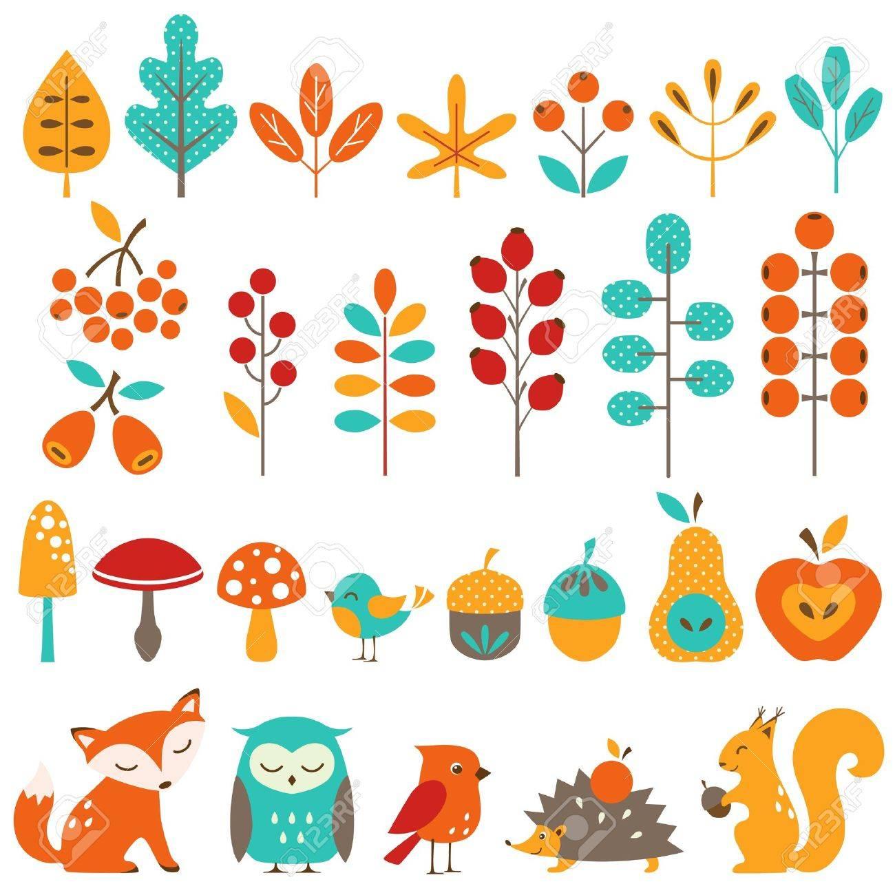 Set of autumn design elements. - 21951924